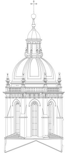 Alzado del Cimborrio de la Catedral de Santiago de Compostela desde el crucero