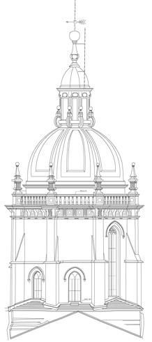 Alzado del Cimborrio de la Catedral de Santiago de Compostela desde la nave