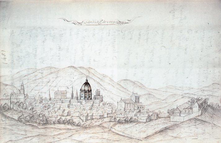 Dibujo de Edward Mountagu Conde de Sandwich del cimborrio de la Catedral de Santiago de Compostela