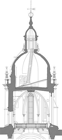 Sección del Cimborrio de la Catedral de Santiago de Compostela