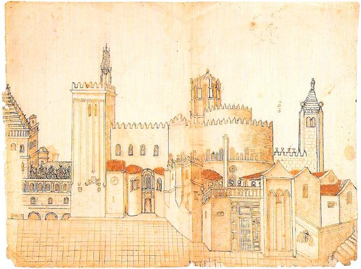Dibujo de Vega y Verdugo del cimboriio de la Catedral de Santiago de Compostela