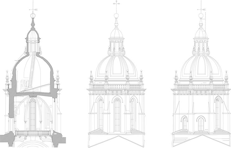 documentaciones-tecnicas-cimborrio-catedral-santiago-alzados-secciones-propuestas