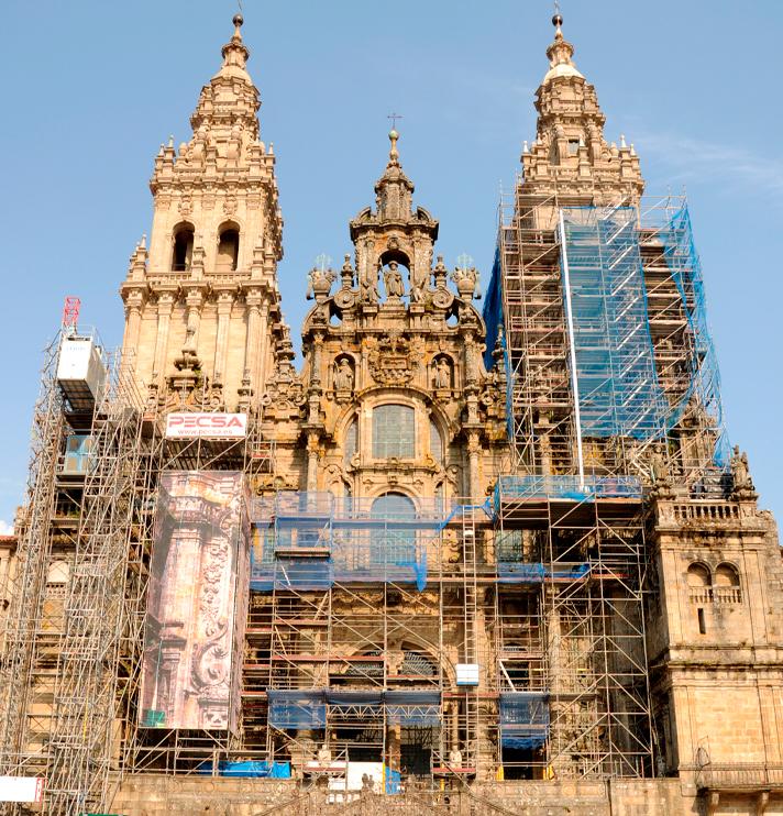 Estado actual de la fachada del Obradoiro de la Catedral de Santiago de Compostela