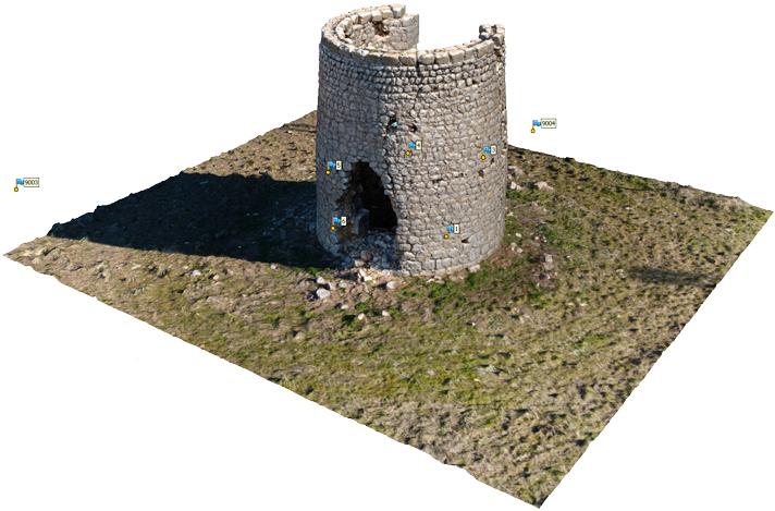 Nube de puntos densa con Metashape de un antiguo molino en ruinas