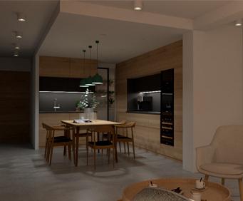 Render de una cocina elaborado con una estación de trabajo para modelado 3D y BIM