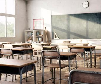 Render del aula de una escuela elaborado con una estación de trabajo para modelado 3D y BIM